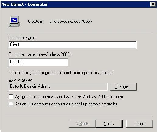 5. In the Managed dialog box, click Next. 6. In the New Object Computer dialog box, click Finish. 7. Repeat steps 3 through 6 in order to create additional computer accounts.