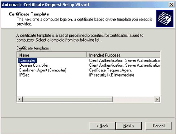 12. When you complete the Automatic Certificate Request Setup Wizard page,