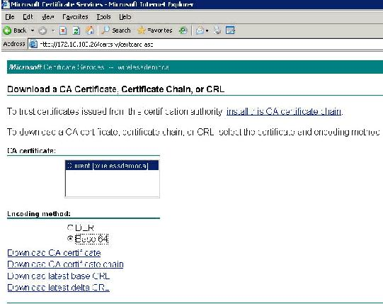 26 /certsrv. Install the Certificate in ACS 4.0 Software Complete these steps: 1.