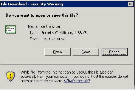 4. A File Download Security Warning window appears. Click Save. 5.