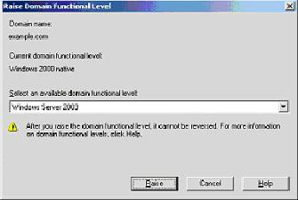 15. When prompted to restart the computer, click Restart Now. Step 3: Raise the Domain Functional Level Complete these steps: 1.