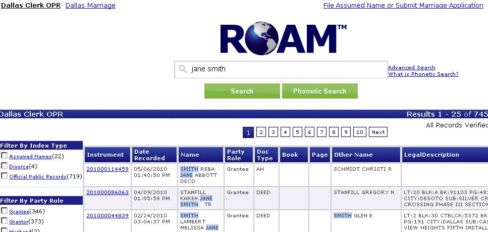 Key Tips for all Search Options: 1. Within the ROAM s homepage users are able to perform the following searches. a. Full name search: Jane Smith b.