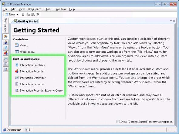 "3. Click OK. The new workspace appears. If ""Show Getting Started"" on new workspaces was checked, the new workspace appears with Getting Started instructions as shown below."