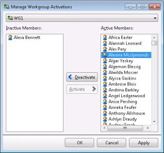 Manage Workgroup Activations dialog. 2. Select a workgroup from the drop list at the top of the dialog. This populates lists of active and inactive agents. 3.
