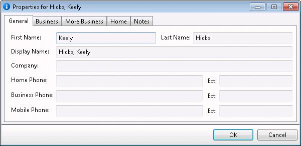 Directory Properties dialog This dialog displays personal information about directory member.