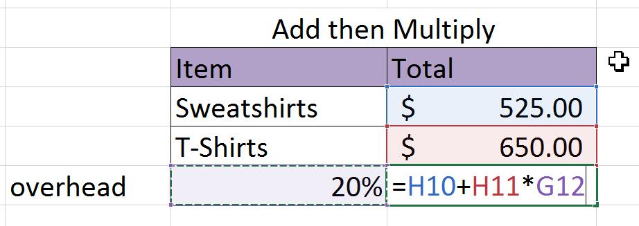 Multiple Arithmetic Operators Many formulas that you create in Excel 2016 perform multiple operations. Excel follows the order of operation when performing each calculation.