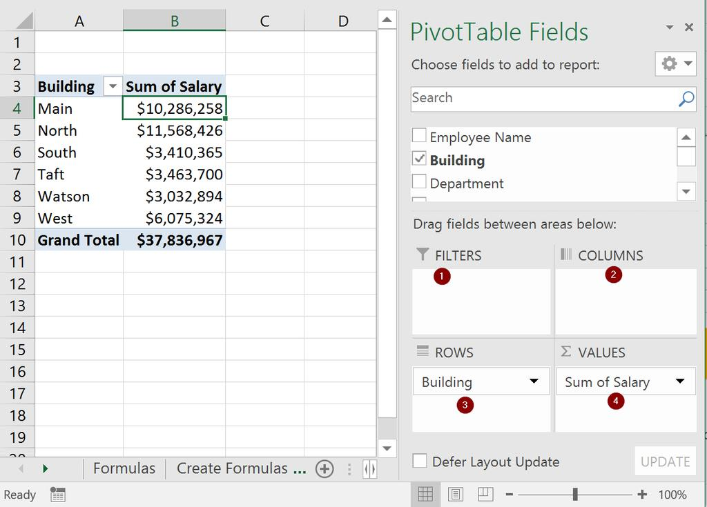 PivotTables & PivotCharts A PivotTable interactively allows for quickly summarizing large amounts of data.