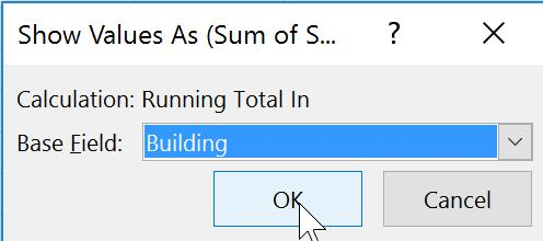 RUNNING TOTAL 1. Right mouse click a cell within the total column.