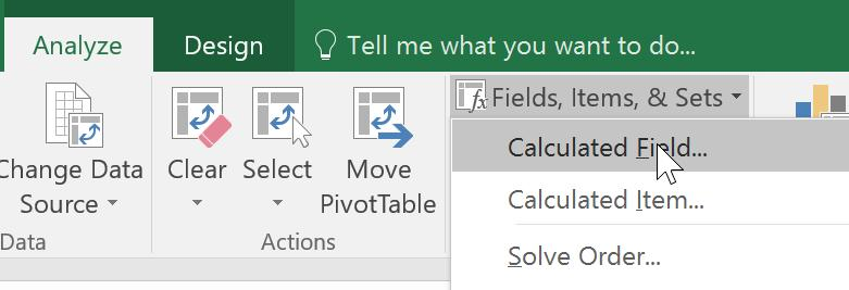 Select a cell in the pivot table, and on the Excel Ribbon, under the PivotTable Tools tab,