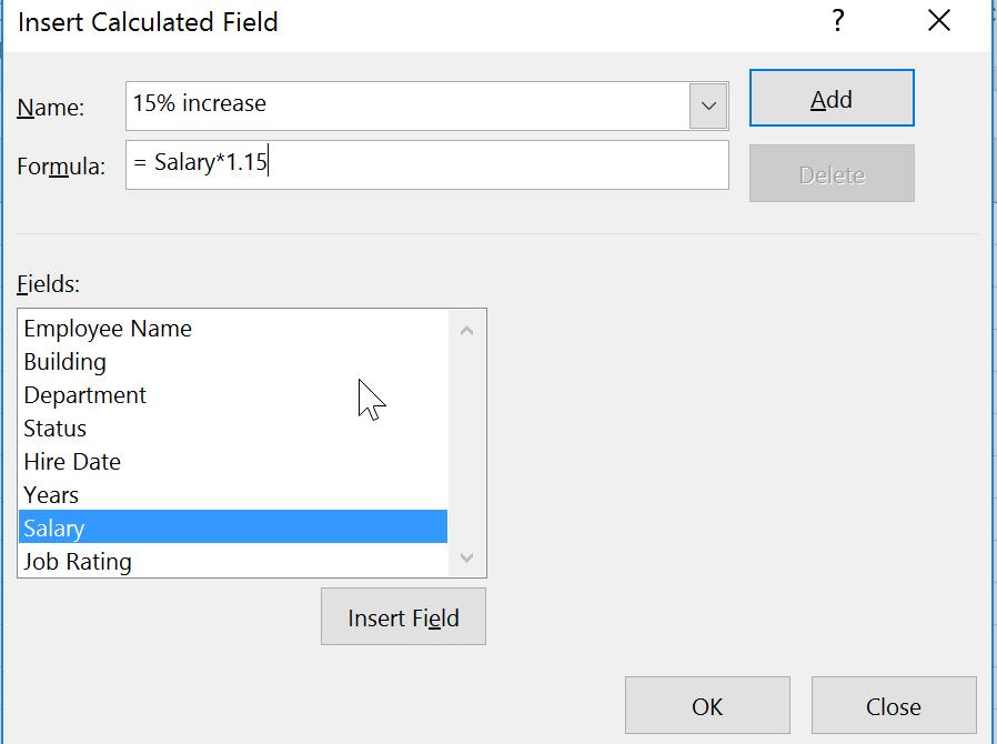 From the Calculations group, Select Fields, Items, & Sets >> Calculated Field. 3.