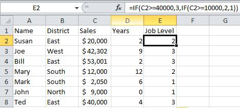 NESTED IF STATEMENT Sales people who have sales of 40,000 or greater are a level 3, $10,000 or greater are a level 2, the rest are a level 1.