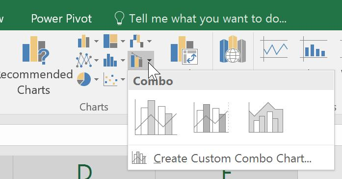 Creating a chart with two Scales 1. Select your data. From the Insert Tab, Charts Section. Select Combo chart and make a selection from there.