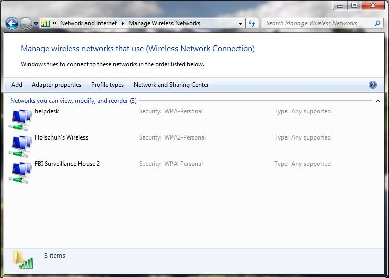 3. In the Manage Wireless Networks window, make sure there are no previous