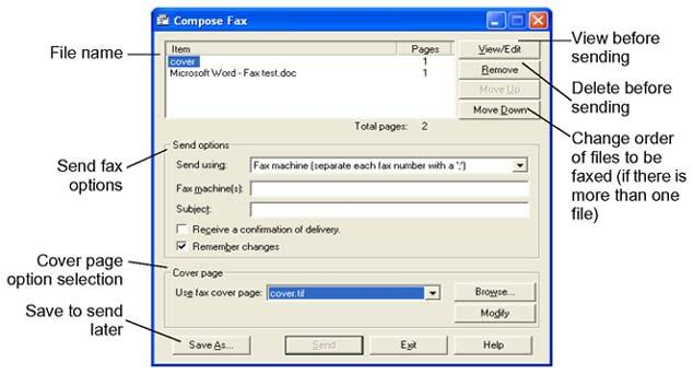 To send a single fax or text message 5. If you want to include a cover page with the fax, choose one from the Use fax cover page list, or click the Browse button to navigate to a different one.
