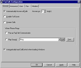 Figure 1-1 General Configuration Screen Setting Auto Answer and number of rings Under the General tab, click the checkbox next to Auto Answer to indicate you want FaxTalk Communicator to