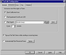 Figure 1-2 Announce Configuration Screen Announcing new messages and faxes When FaxTalk Communicator receives a message and/or fax, it can flash the FaxTalk CallControl icon in the Windows taskbar,