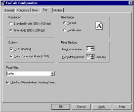 Figure 1-4 Fax Configuration Screen Fax resolution Choose the default resolution that faxes are sent in.