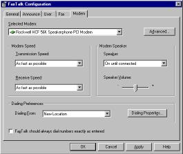 Selecting a modem Figure 1-5 Modem Configuration Screen You can select which modem FaxTalk Communicator should use from the list of installed modems.