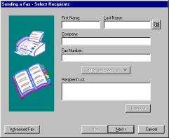 Figure 7-1 Fax Wizard Select Recipients When you are finished entering the recipient information click Next to continue with the Fax Wizard.