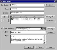 Entering recipients manually Figure 7-5 Send a Fax If you are sending a one time fax to a recipient, simply enter the recipient information in the Fax Number, Name and Company fields.