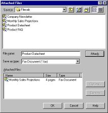 Files dialog also allows you to attach previously saved faxes that are stored in the File Cabinet.