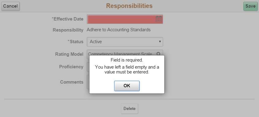 displays the error message shown below when no value is entered in the field: Figure 3: Example of error