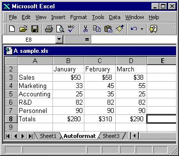 Autoformat There are lots of manual formatting options you can apply to your spreadsheet, but Excel also offers an autoformat option.