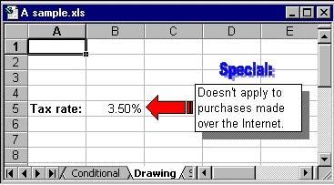 In this variation, a shadowed text box contains the text, with an arrow shape taken from the drawing toolbar s Autoshapes button. WordArt is also included.