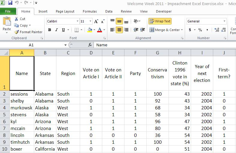 Rockefeller College MPA Excel Workshop: Clinton Impeachment Data Example This exercise is a follow-up to the MPA admissions example used in the Excel Workshop.