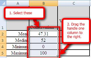 shortcut to entering the formulas for that variable. 1. Select the cells containing statistics for Conservatism. 2.