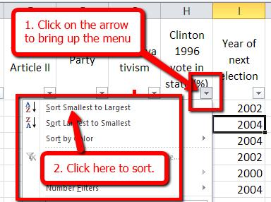 Click on the arrow in the cell for Clinton 1996 vote in state (%). A dialog box will appear. Click on Sort Smallest to Largest.