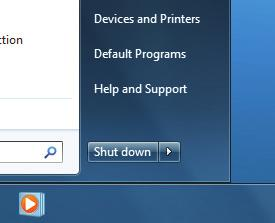 Shutting down Windows 7 1 1 To shut down Windows 7, press the Start button ( ). The Start menu appears. 2 Press the Shut Down button. Windows 7 shuts down your computer.