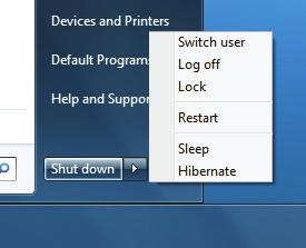 3 Choose Sleep or Hibernate. Windows 7 puts your computer in Sleep mode or Hibernate mode, depending on which option you choose. Choose Sleep or Hibernate. Note that in addition to providing Sleep and Hibernate options, the Shut Down menu also includes the following choices: Switch User.