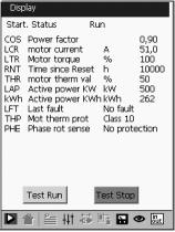 The settings are as follows (see page /69): - nominal motor current, - limiting current, - acceleration ramp time, - initial starting torque, - deceleration ramp time, - threshold for changing to