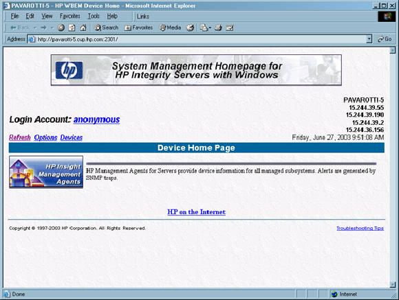 3. Click the HP Insight Management Agent icon to open the management summary page.