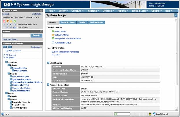 2. Select HP Systems Insight Manager. The browser to the HP Systems Insight Manager server launches, and the selection name for the individual system passes to HP Systems Insight Manager.