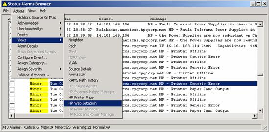 The Alarm Browser can be configured to include launch options for HP Web Jetadmin and HP