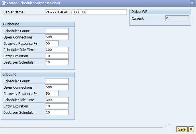 dialog work processes per each scheduler.