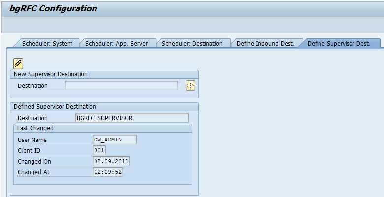 9. On Supervisor Destination tab, click on Change Button