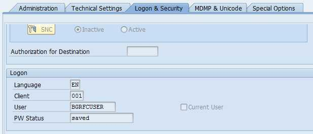 Enter user, password for the logon info.