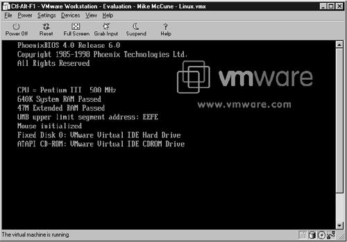 Figure 4.2. VMware is running Linux inside of a Windows NT.