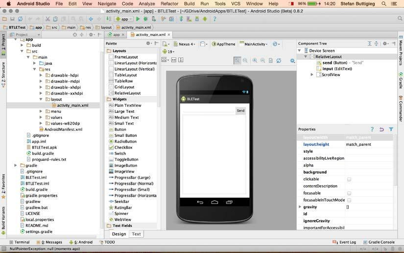 Controlling an Arduino Board via Bluetooth The Android layout files are managed either via the design view or via the text view, where the dimensions and properties are set using the XML format.