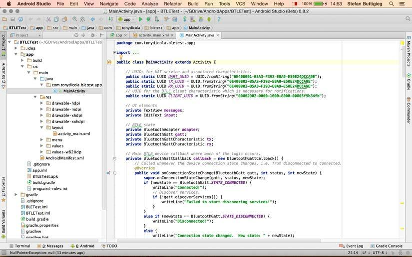 Chapter 2 Double-click on MainActivity.java. The screen for MainActivity.java will look as follows.