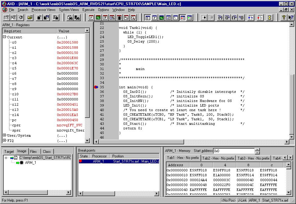 294 CHAPTER 12 12.3.2 Setup for various debuggers ARM RVDS (RealView developer suite) Software version J-Link RDI has been tested with ARM RVDS version 2.1 and 3.0.