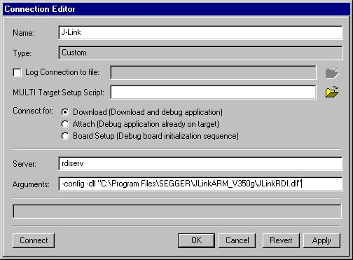 300 CHAPTER 12 Setup for various debuggers 5. Confirm the choices by clicking the Apply button after the Connect button. 6. The J-Link RDI Configuration dialog will open.