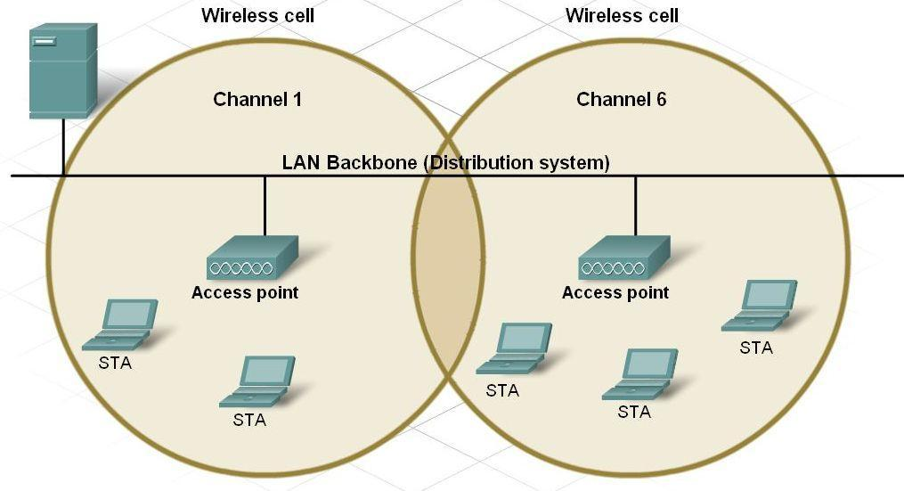 Components and Structure of a WLAN Describe how wireless channels
