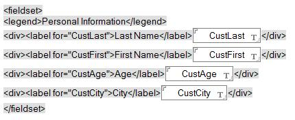Forms and Pages Use <fieldset> and <legend> tags to group related fields Onscreen elements which naturally belong together should be co-located and identified in some way as belonging together.