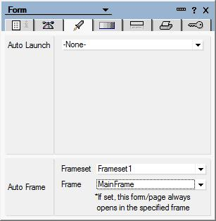 Navigation Launch documents in context using Auto Frame If you are using a frameset, you may want a document always to open inside a frame within the frameset.