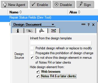 Agents You can hide an agent with Design Document Properties.