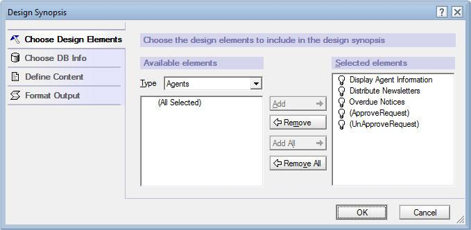 Testing and Debugging Open Design Synopsis, select design elements of interest, refine the output as you see fit, and click the OK button. Results are written to a temporary document.